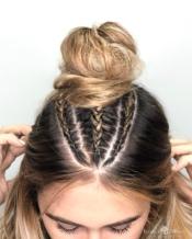 Micro braids into Bun